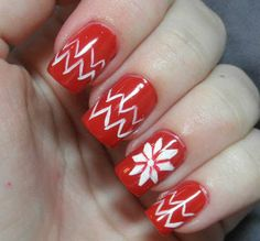 The Lacquerologist: Holiday Nail Art: Red Christmas Sweater! Nail Art 2014, Red Nail Art, Holiday Nail Art, Christmas Nail Art, Red Christmas, New Nail Colors, All The Colors, Fair Girls, Nailart