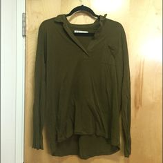 Madewell Green long sleeve shirt Hi Line shirt which is a Madewell brand. Long sleeve v neck/small collar army/dark green shirt. Very minimal wear. Madewell Tops Tees - Long Sleeve