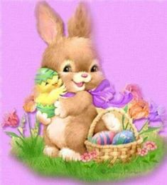 Happy Easter rabbit and chick on purple Easter Messages, Easter Wishes, Easter Art, Easter Bunny, Cris Ortega, Penny Parker, Happy Easter Quotes, Easter Illustration, Kitten Images