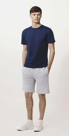 Perfect Basics. | French Terry Shorts + Navy T Shirt