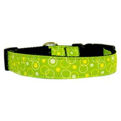 Mirage Pet Products Retro Nylon Ribbon Collar, Large, Lime Green -- See this awesome image  : Collars for dogs