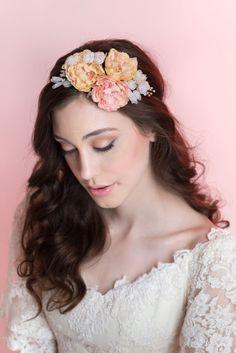 Silk Flower Halo Bridal Flower Crown Wedding by MilaKolitsova