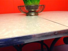 1950's MCM Grey Mother of Pearl Formica Dining Table by HUEisit, $100.00