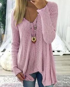 18d61662fd V neck Cotton Solid Casual Long Sleeve Sweater – lalasgal Winter Sweaters