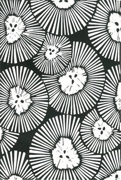 CHRYSANTHEMUMS Lino Print Black& White Abstract by magprint