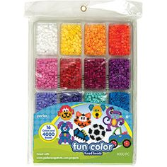 Perler Beads Fun Colors Fuse Beads and Storage Tray For Kids Crafts, 4000 pcs Hama Beads, Seed Beads, Melted Bead Bowl, Fusion Beads, Melting Beads, Craft Materials, Joanns Fabric And Crafts, Beading Supplies, Craft Work