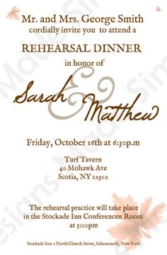 Fall Rehearsal Dinner Invitation
