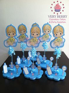Good 6 Precious Moments Baby Boy Glitter Centerpieces By VeryberryParty, $108.00