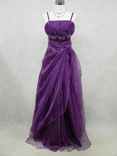 Cherlone Plus Size Satin Purple Long Prom Ball Gown Wedding Evening Dress 24 26