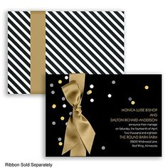 Sparkling Confetti Foil Wedding Invitation by #DavidsBridal #weddinginvitation #blacktiewedding