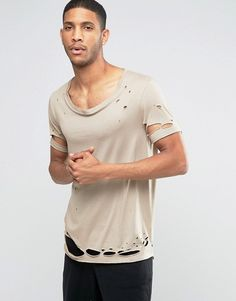 ASOS   ASOS Longline T-Shirt With Stretch Neck And Heavy Distress In Drape Fabric