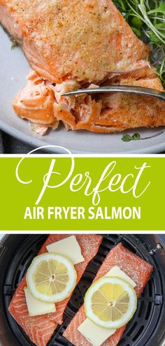 You will love this perfect air fryer salmon that cooks in under 15 minutes. - You will love this perfect air fryer salmon that cooks in under 15 minutes. The air fryer creates a - Air Fryer Oven Recipes, Air Fryer Dinner Recipes, Air Fryer Recipes Salmon, Recipes For Airfryer, Air Fryer Rotisserie Recipes, Air Fryer Recipes Breakfast, Healthy Recipes, Cooking Recipes, Healthy Food