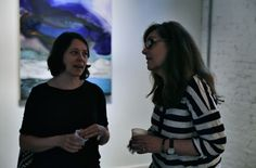 Ky Anderson and Marcy Rosenblat at PROTO Gallery attending the WE ARE WHAT THE SEAS HAVE MADE US opening reception