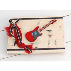 Vintage Χειροποίητο Βιβλίο Ευχών για αγόρι με αποχρώσεις του κόκκινου και του Navy Blue με θέμα τη κιθάρα. Zip Around Wallet, Bags, Vintage, Handbags, Vintage Comics, Bag, Totes, Hand Bags