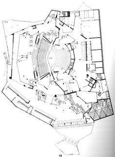 Hans Scharoun's Berliner Philharmonie Hans Scharoun, Staatsbibliothek Berlin, Critical Regionalism, Theater Plan, Shopping Malls, Architecture Plan, Concert Hall, Line Drawing, Zine