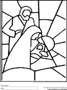 Christmas Coloring Pages Stained Glass Is A Simple Outline Of The Nativity