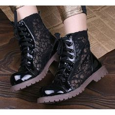 Sexy Black Lace up Flat Gothic Fashion Summer Ankle Sandals Boots  SKU-143275
