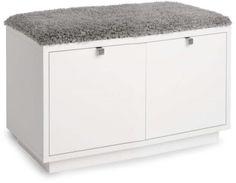 Sittplats och förvaring i ett. Bänk med två lådor och dyna, 70x35x45 centimeter… Furniture, Home Appliances, House Design, Interior, Storage Bench, White Wash, Home Decor, Storage Chest, Storage