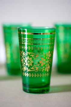 Moroccan Style Green Glassware  -  in Green and Gold Decoration.