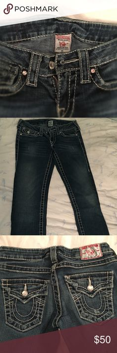 True Religion Jeans Size 25 My loss your gain ! True Religion Jeans , my favorite !  I bought the wrong size and they are WAY too tight . Never Worn . True Religion Jeans Straight Leg