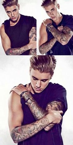 Justin Bieber's photoshoots show a lot of muscle and a lot of tattoos. It shows that be masculine, the man has to have muscles and needs to show them off. When he was younger Justin's photos was of him in a shirt, smiling. Now that he is older he is expected to be more muscular to have that sex appeal.