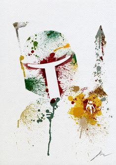 Star Wars paint splatter: Boba Fett Art Print
