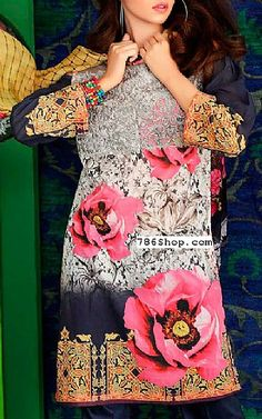Grey/Blue Lawn Suit | Buy Charizma Eid Collection Pakistani Dresses and Clothing online in USA, UK
