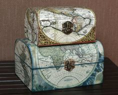 Wooden Treasure Vintage Decoupage Box