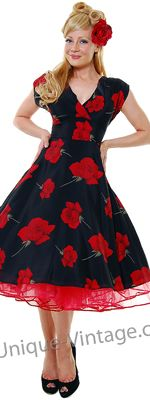 Staring 40' Style Black and Red Rose Print Swing Prom Dresses -& I love the hair!!