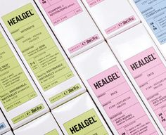 Packaging with pastel detail designed by Pentagram for high quality skin care range Healgel.