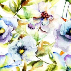 Watercolor painting with Beautiful Blue flowers