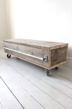 Reclaimed Scaffolding Board Long Low Coffee Table Or Media Unit With Drawer On…