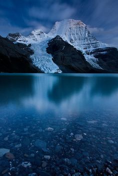 Mount Robson Twilight. Mount Robson's Emperor Face at twilight. Berg Lake, Mount Robson Provincial Park, B.C., Canada. Photo by Jeff Pang.