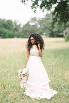 2 Piece Wedding Gowns: 15 Gorgeous Bridal Separates Modern Brides Will Love via Brit + Co