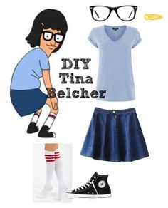 """DIY Tina Belcher Costume"" by demonica-slaughter ❤ liked on Polyvore featuring Warehouse, Ryder, Converse, Clips and Muse"