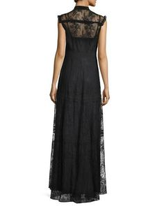 TCEHQ Needle & Thread Sleeveless Button-Front Lace-Overlay Gown