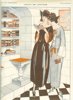 1920s Art Deco La Vie Parisienne  Fashion Print Two Women Reading A History Book  by de Fabiano. Ideal For Framing