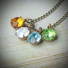 Vintage Rhinestone Birthstone Necklace Mother Your by RewElliott, $29.00-beaumont, texas