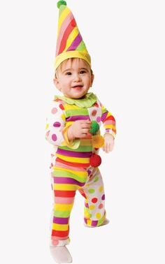 Dress up America Dots' N Stripes Infant Clown Costume Set for Baby Months) Toddler Costumes, Baby Costumes, Clown Hat, Clown Halloween Costumes, Month Colors, Difficult People, Rainbow Colors, 12 Months, Kids Playing