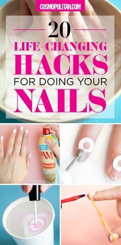 EASY NAIL HACKS & IDEAS: Save major money by skipping the salon and creating your own perfect diy mani with these tips and hacks. Cut down your drying time with PAM cooking spray, create the perfect half-moon mani with paper reinforcements, and create your own nail polish hue with loose pigments — find all the details and instructions here!