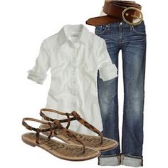 Love the simplicity of a white shirt and jeans
