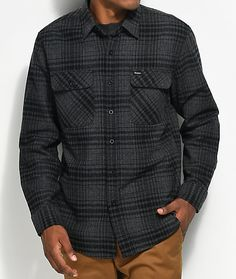 301f0794afd Brixton Bowery Black   Heather Charcoal Flannel Shirt
