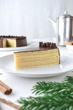 Festive tree cake or layer cake- Festlicher Baumkuchen bzw. Schichttorte Baumkuchen or Schichttorte Recipe for festive tree cakes or layer cake without marzipan. Super juicy and with a slight rum note. The perfect recipe for baking for Christmas! Baking Recipes, Cookie Recipes, Tree Cakes, Layer Cake Recipes, Flaky Pastry, Food Cakes, Ice Cream Recipes, Perfect Food, Layer Cakes