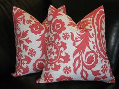 coral decorative pillows | Decorative Pillows coral Throw Pillow Cover 18 inch SUZANI salmon pink ...