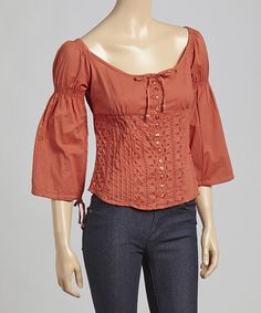 Look at this Rust Button-Up Top on #zulily today!