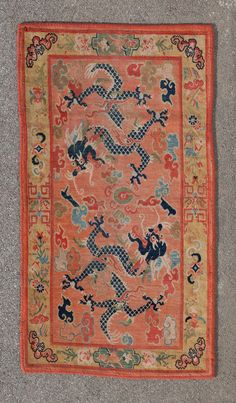 Tibetan Dragon Khaden Rug | From a unique collection of antique and modern chinese and east asian rugs at https://www.1stdibs.com/furniture/rugs-carpets/chinese-rugs/