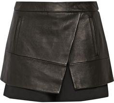 Tibi Leather and gabardine shorts on shopstyle.com