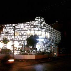 flux 2015 projection at the fassade of the new goethe institute  in tunis, done by hartung und trenz 2015
