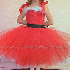 Christmas tutu dress outfit // red baby girls infant toddler holiday Santa dress // babys first Christmas dress // Christmas gift