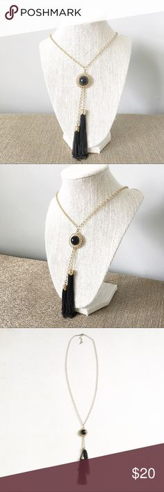 Gold and black long tassel necklace Gold and black long tassel necklace - necklace is much longer than shown on the mannequin Jewelry Necklaces